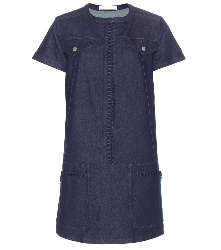 Denim Dress - style: shift; pattern: plain; predominant colour: royal blue; occasions: casual; length: just above the knee; fit: straight cut; fibres: cotton - 100%; neckline: crew; hip detail: subtle/flattering hip detail; sleeve length: short sleeve; sleeve style: standard; texture group: denim; pattern type: fabric; season: s/s 2016; wardrobe: basic
