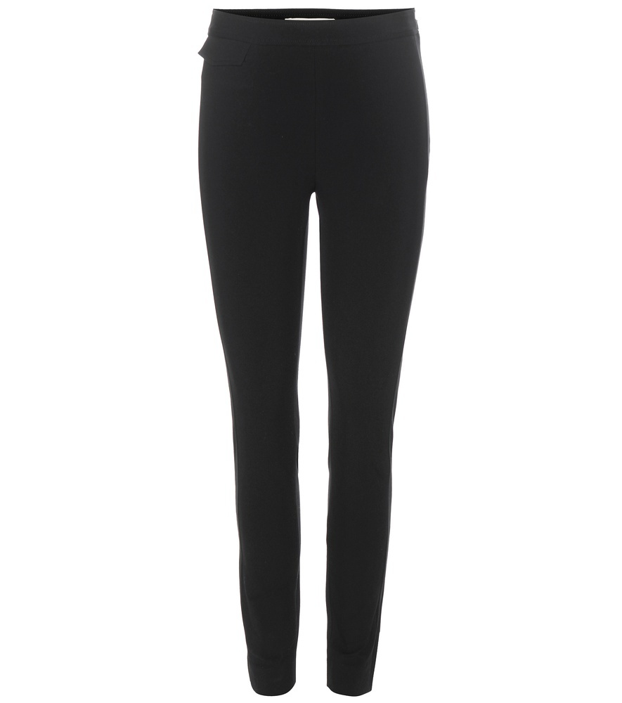 Cotton Blend High Rise Trousers - length: standard; pattern: plain; waist: mid/regular rise; predominant colour: black; fibres: cotton - mix; texture group: cotton feel fabrics; fit: skinny/tight leg; pattern type: fabric; style: standard; occasions: creative work; season: s/s 2016; wardrobe: basic