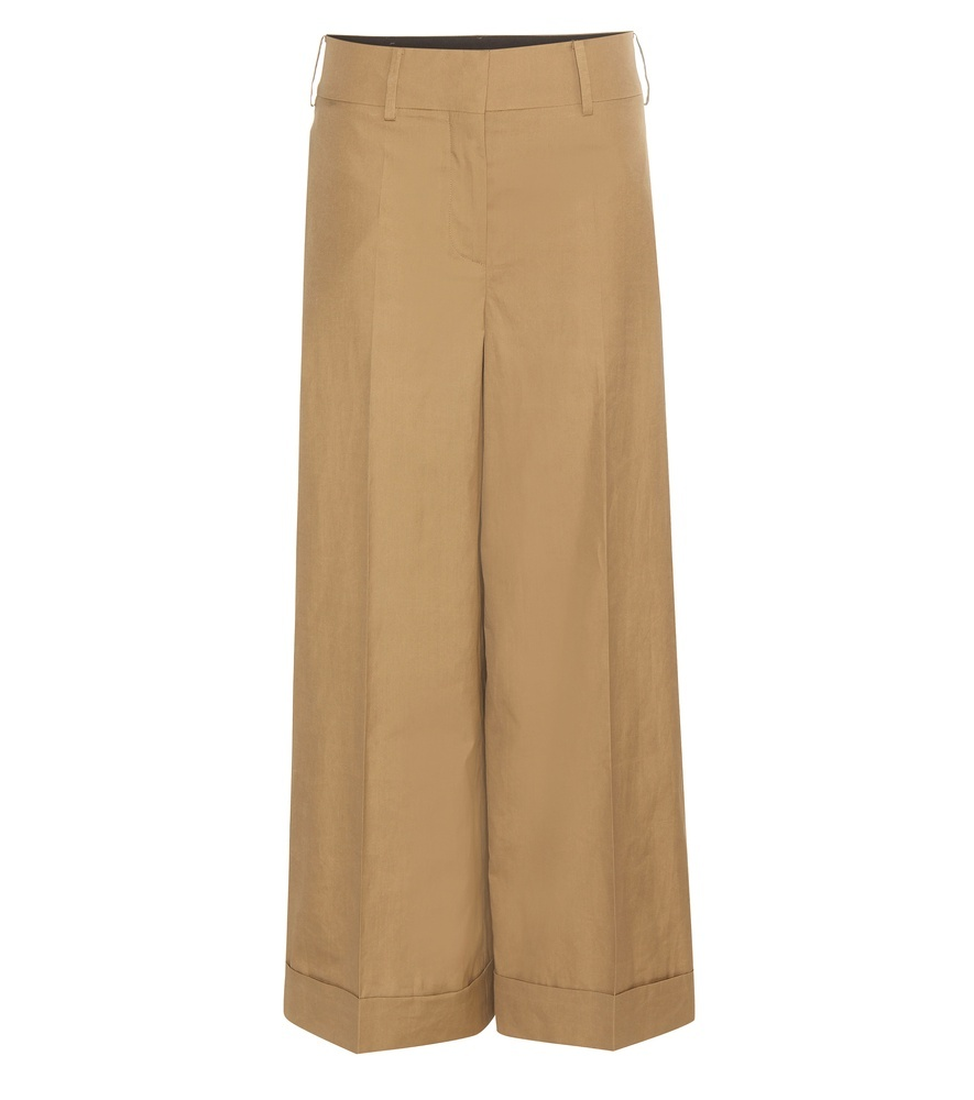 Wide Leg Cotton Trousers - pattern: plain; style: palazzo; waist: mid/regular rise; predominant colour: camel; occasions: casual; length: ankle length; fibres: cotton - 100%; texture group: cotton feel fabrics; fit: wide leg; pattern type: fabric; season: s/s 2016; wardrobe: basic