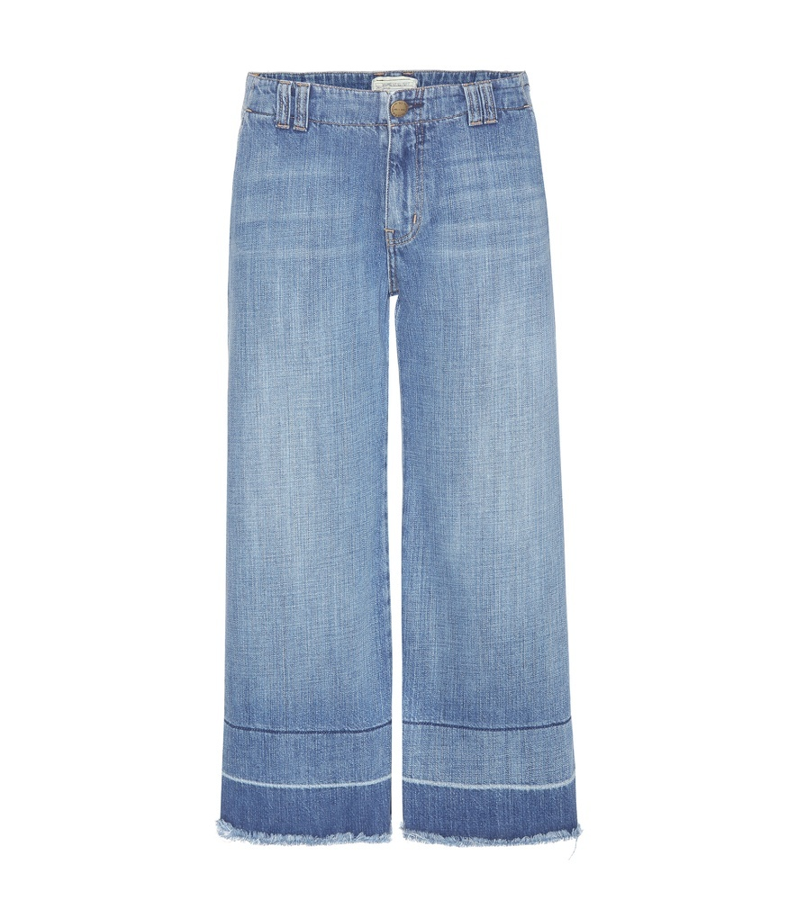The Cropped Hampden Jeans - pattern: plain; waist: mid/regular rise; style: wide leg; predominant colour: denim; occasions: casual, creative work; length: ankle length; fibres: cotton - mix; jeans detail: whiskering, shading down centre of thigh, washed/faded; texture group: denim; pattern type: fabric; season: s/s 2016; wardrobe: basic