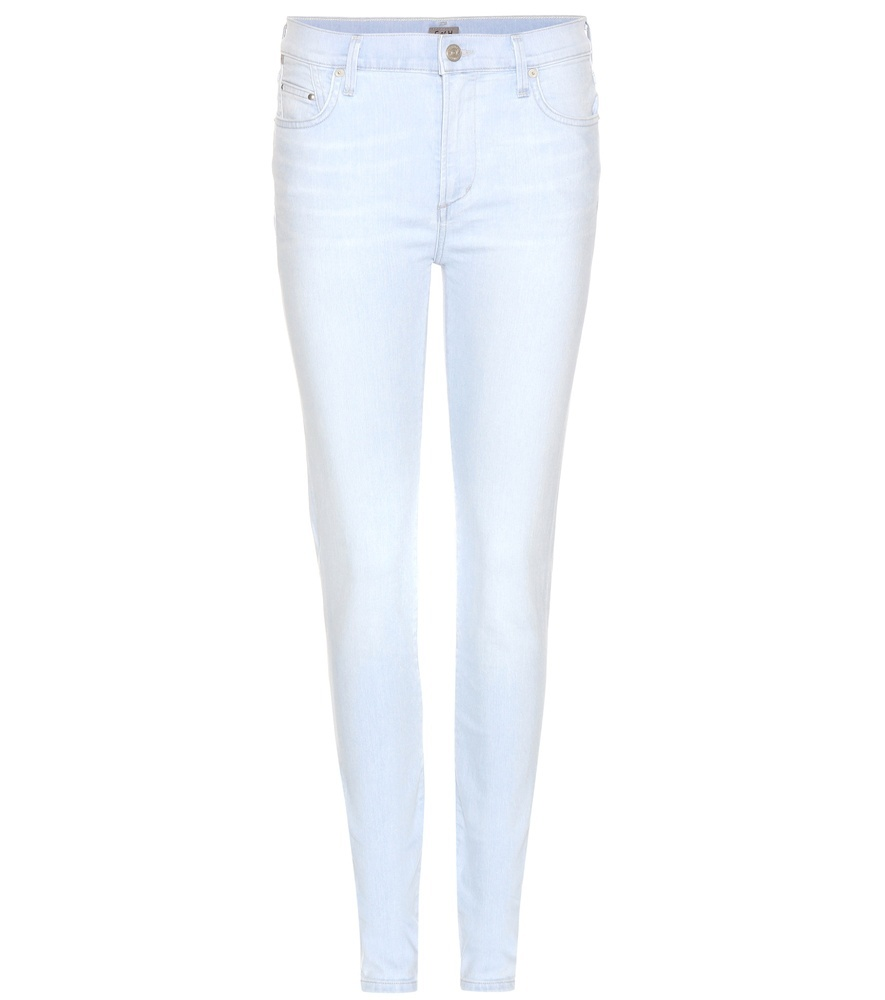 Rocket High Rise Skinny Jeans - style: skinny leg; length: standard; pattern: plain; pocket detail: traditional 5 pocket; waist: mid/regular rise; predominant colour: pale blue; occasions: casual; fibres: cotton - stretch; texture group: denim; pattern type: fabric; season: s/s 2016; wardrobe: basic