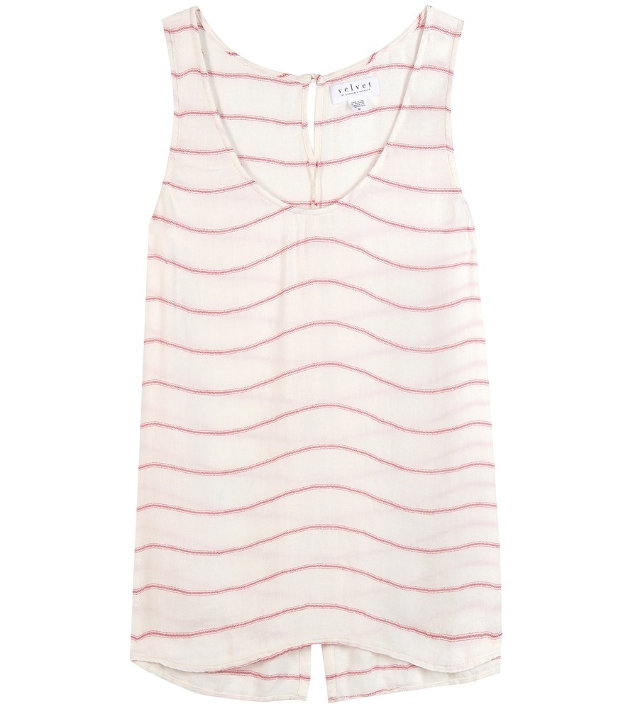 Blayne Striped Top - neckline: round neck; pattern: horizontal stripes; sleeve style: sleeveless; style: vest top; predominant colour: white; secondary colour: hot pink; occasions: casual; length: standard; fibres: viscose/rayon - 100%; fit: body skimming; sleeve length: sleeveless; pattern type: fabric; texture group: jersey - stretchy/drapey; multicoloured: multicoloured; season: s/s 2016; wardrobe: highlight