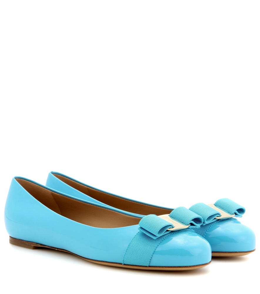 Varina Patent Leather Ballerinas - predominant colour: pale blue; occasions: casual; material: leather; heel height: flat; toe: round toe; style: ballerinas / pumps; finish: patent; pattern: plain; embellishment: bow; season: s/s 2016
