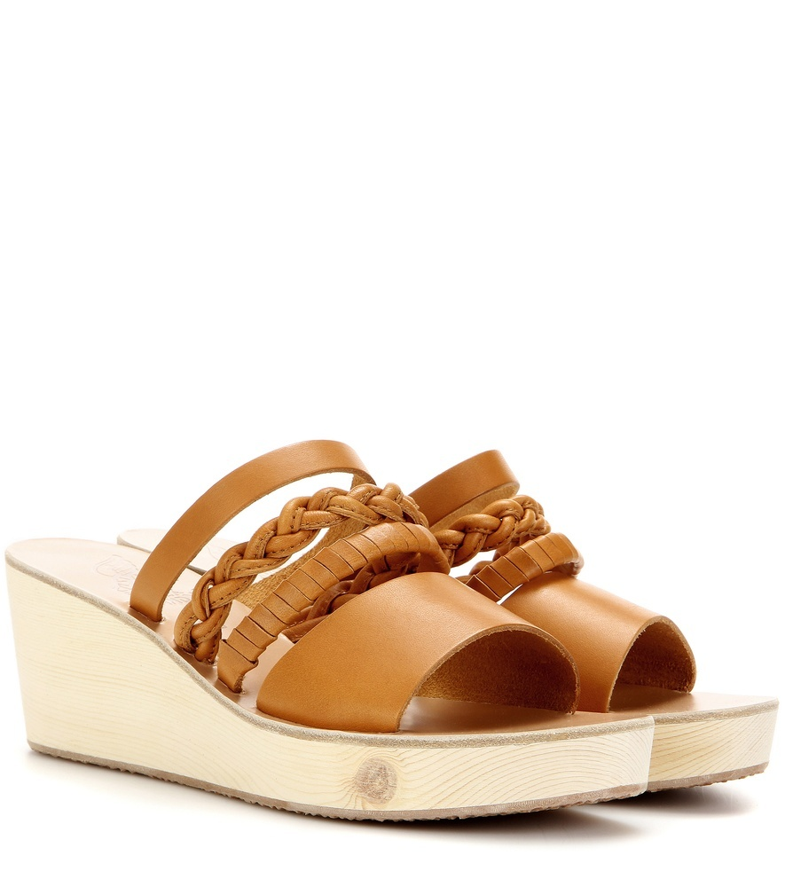 Helene Leather Wedge Sandals - predominant colour: camel; occasions: casual, holiday; material: leather; heel height: mid; heel: wedge; toe: open toe/peeptoe; style: slides; finish: plain; pattern: plain; shoe detail: platform; season: s/s 2016; wardrobe: highlight