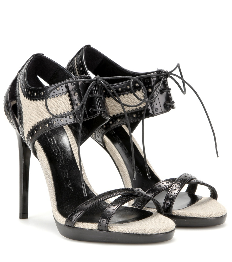 Gauld 110 Leather And Canvas Sandals - secondary colour: ivory/cream; predominant colour: black; occasions: evening, occasion; material: leather; heel: stiletto; toe: open toe/peeptoe; style: strappy; finish: plain; pattern: plain; heel height: very high; shoe detail: platform; season: s/s 2016; wardrobe: event