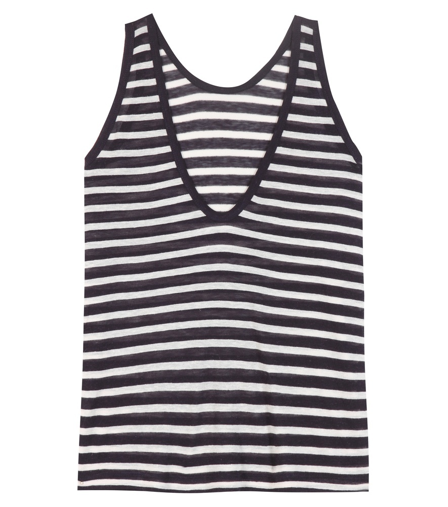 Striped Top - neckline: v-neck; pattern: horizontal stripes; sleeve style: sleeveless; secondary colour: white; predominant colour: navy; occasions: casual; length: standard; style: top; fit: body skimming; sleeve length: sleeveless; pattern type: fabric; texture group: jersey - stretchy/drapey; fibres: viscose/rayon - mix; multicoloured: multicoloured; season: s/s 2016; wardrobe: basic
