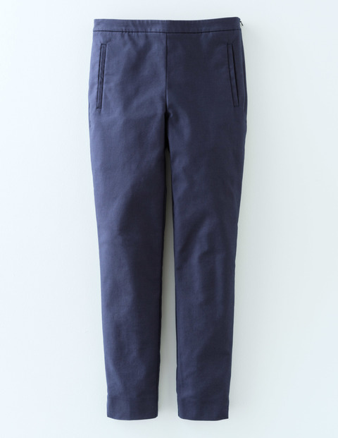 Twickenham Cigarette Trouser Navy Women, Navy - pattern: plain; waist: mid/regular rise; predominant colour: navy; occasions: work, creative work; length: ankle length; fibres: cotton - mix; waist detail: feature waist detail; texture group: cotton feel fabrics; fit: slim leg; pattern type: fabric; style: standard; season: s/s 2016; wardrobe: basic