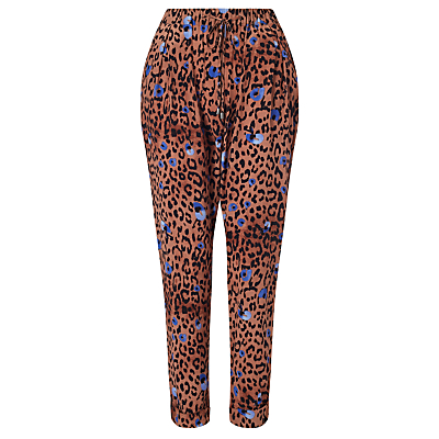 Leopard Print Trousers, Multi - length: standard; style: harem/slouch; waist detail: wide waistband/cummerbund; waist: high rise; predominant colour: diva blue; secondary colour: terracotta; occasions: casual; fibres: viscose/rayon - 100%; fit: tapered; pattern type: fabric; pattern: animal print; texture group: woven light midweight; multicoloured: multicoloured; season: s/s 2016; wardrobe: highlight