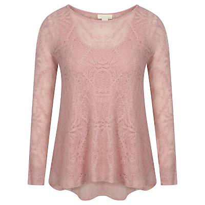 Annabelle Jacquard Top, Pink - neckline: round neck; predominant colour: blush; occasions: casual, creative work; length: standard; style: top; fibres: viscose/rayon - stretch; fit: body skimming; back detail: longer hem at back than at front; sleeve length: long sleeve; sleeve style: standard; pattern type: fabric; pattern size: standard; pattern: patterned/print; texture group: brocade/jacquard; season: s/s 2016
