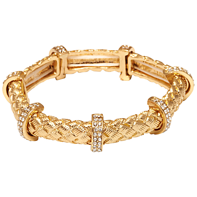 Textured Tube And Crystal Bar Stretch Bracelet - predominant colour: gold; occasions: evening, occasion; style: bangle/standard; size: small/fine; material: chain/metal; finish: metallic; embellishment: crystals/glass; season: s/s 2016