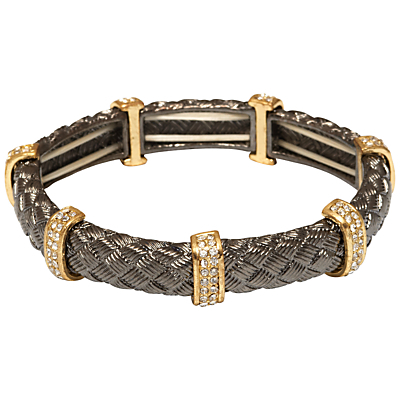 Textured Tube And Crystal Bar Stretch Bracelet - secondary colour: gold; predominant colour: black; style: bangle/standard; size: small/fine; material: chain/metal; finish: metallic; embellishment: crystals/glass; occasions: creative work; season: s/s 2016; wardrobe: highlight
