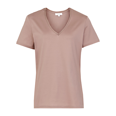 Ren Trim V Neck T Shirt - neckline: v-neck; pattern: plain; style: t-shirt; predominant colour: camel; occasions: casual, creative work; length: standard; fibres: cotton - 100%; fit: straight cut; sleeve length: short sleeve; sleeve style: standard; pattern type: fabric; texture group: jersey - stretchy/drapey; season: s/s 2016; wardrobe: basic