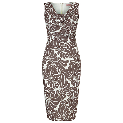 Cath Floral Print Dress, Praline/Cream - style: shift; neckline: cowl/draped neck; sleeve style: sleeveless; secondary colour: white; predominant colour: mid grey; occasions: evening; length: just above the knee; fit: body skimming; fibres: polyester/polyamide - stretch; sleeve length: sleeveless; pattern type: fabric; pattern size: light/subtle; pattern: patterned/print; texture group: jersey - stretchy/drapey; season: s/s 2016; wardrobe: event
