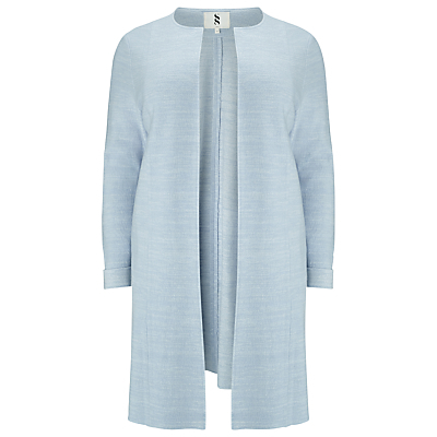 Paula Knitted Coat, Pale Blue - pattern: plain; collar: round collar/collarless; style: single breasted; length: mid thigh; predominant colour: pale blue; occasions: evening, work, creative work; fit: tailored/fitted; fibres: wool - mix; sleeve length: long sleeve; sleeve style: standard; collar break: low/open; pattern type: fabric; texture group: woven light midweight; season: s/s 2016; wardrobe: highlight