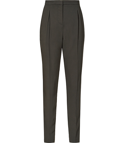 Diego Trouser Tapered Tailored Trousers - length: standard; pattern: plain; style: peg leg; waist: high rise; predominant colour: charcoal; fibres: polyester/polyamide - 100%; hip detail: subtle/flattering hip detail; waist detail: feature waist detail; texture group: crepes; fit: tapered; pattern type: fabric; occasions: creative work; season: s/s 2016; wardrobe: basic