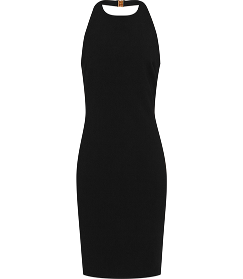 Mahiki Halterneck Bodycon Dress - fit: tight; pattern: plain; sleeve style: sleeveless; style: bodycon; neckline: low halter neck; predominant colour: black; occasions: evening; length: on the knee; fibres: polyester/polyamide - mix; sleeve length: sleeveless; texture group: jersey - clingy; pattern type: fabric; season: s/s 2016; wardrobe: event