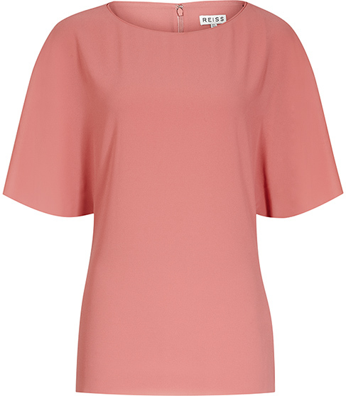 Lexi Fluid Cap Sleeve Top - pattern: plain; predominant colour: pink; occasions: casual; length: standard; style: top; fibres: polyester/polyamide - 100%; fit: body skimming; neckline: crew; sleeve length: short sleeve; sleeve style: standard; texture group: crepes; pattern type: fabric; season: s/s 2016; wardrobe: highlight
