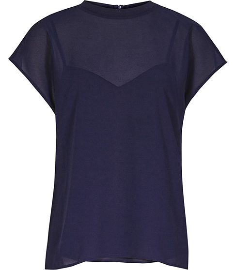 Aspen Semi Sheer Top - sleeve style: capped; pattern: plain; neckline: high neck; bust detail: sheer at bust; predominant colour: navy; length: standard; style: top; fibres: polyester/polyamide - 100%; fit: body skimming; sleeve length: short sleeve; texture group: sheer fabrics/chiffon/organza etc.; pattern type: fabric; occasions: creative work; season: s/s 2016; wardrobe: basic