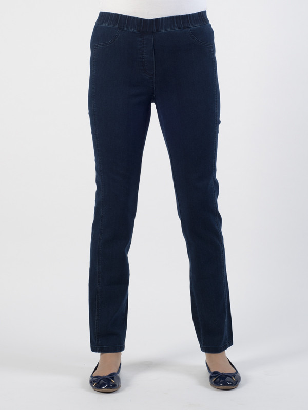 Frank Walder Easy Pull On Denim Trousers - length: standard; pattern: plain; style: slim leg; waist: mid/regular rise; predominant colour: navy; occasions: casual; fibres: cotton - stretch; jeans detail: dark wash; texture group: denim; pattern type: fabric; season: s/s 2016; wardrobe: basic
