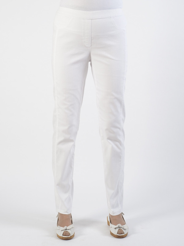 Frank Walder Easy Pull On White Trousers - length: standard; pattern: plain; waist: mid/regular rise; predominant colour: white; occasions: casual; fibres: cotton - stretch; texture group: cotton feel fabrics; fit: slim leg; pattern type: fabric; style: standard; season: s/s 2016