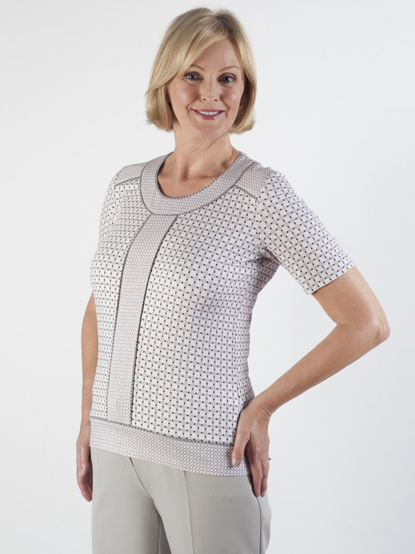 Frank Walder Geo Print Jersey Top - neckline: round neck; style: t-shirt; secondary colour: white; predominant colour: stone; occasions: casual; length: standard; fibres: viscose/rayon - stretch; fit: body skimming; sleeve length: short sleeve; sleeve style: standard; texture group: jersey - clingy; pattern type: fabric; pattern size: standard; pattern: patterned/print; season: s/s 2016; wardrobe: highlight