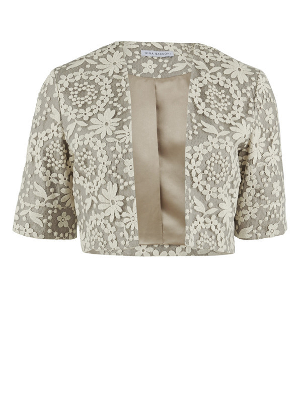 Gina Bacconi Taupe Daisy Chain Embroidered Mesh Bolero - style: bolero/shrug; collar: round collar/collarless; secondary colour: ivory/cream; predominant colour: stone; fit: straight cut (boxy); fibres: polyester/polyamide - 100%; occasions: occasion; sleeve length: half sleeve; sleeve style: standard; texture group: lace; collar break: low/open; pattern type: fabric; pattern size: standard; pattern: patterned/print; length: cropped; season: s/s 2016; wardrobe: event