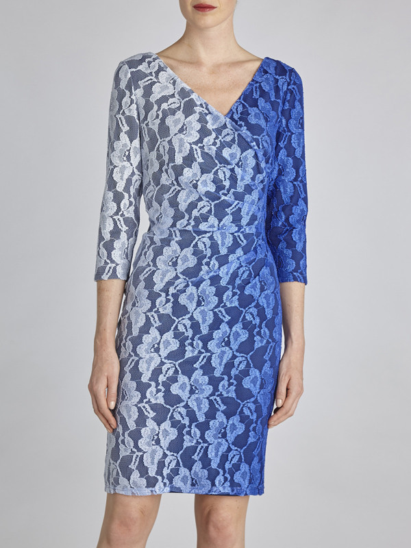 Gina Bacconi Blue Ombre Stretch Lace Ruched Wrap Dress - style: shift; neckline: low v-neck; fit: tailored/fitted; secondary colour: white; predominant colour: royal blue; length: just above the knee; fibres: polyester/polyamide - stretch; occasions: occasion; sleeve length: 3/4 length; sleeve style: standard; texture group: lace; pattern type: fabric; pattern: patterned/print; embellishment: lace; season: s/s 2016; wardrobe: event