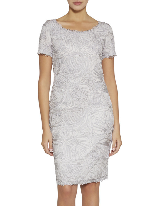 Gina Bacconi Silver Short Sleeve Round Neck Embroidery Dress - style: shift; fit: tailored/fitted; predominant colour: silver; occasions: evening, occasion; length: just above the knee; neckline: scoop; fibres: polyester/polyamide - 100%; sleeve length: short sleeve; sleeve style: standard; texture group: sheer fabrics/chiffon/organza etc.; pattern type: fabric; pattern: patterned/print; embellishment: applique; season: s/s 2016; wardrobe: event