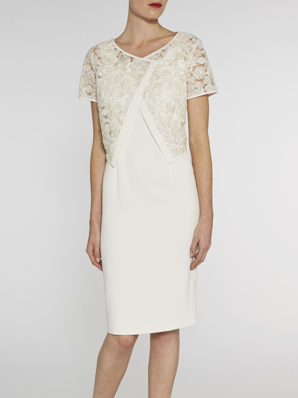 Gina Bacconi Ivory Cornelli Net Jacket And Crepe Dress - style: shift; neckline: round neck; fit: tailored/fitted; pattern: plain; predominant colour: ivory/cream; occasions: evening; length: on the knee; fibres: polyester/polyamide - stretch; sleeve length: short sleeve; sleeve style: standard; texture group: crepes; pattern type: fabric; embellishment: lace; season: s/s 2016; wardrobe: event; embellishment location: bust