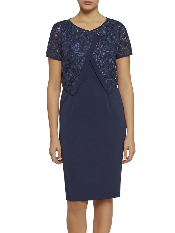 Gina Bacconi Navy Cornelli Net Jacket And Crepe Dress - style: shift; fit: tailored/fitted; pattern: plain; predominant colour: royal blue; occasions: evening; length: on the knee; fibres: polyester/polyamide - stretch; neckline: crew; sleeve length: short sleeve; sleeve style: standard; texture group: crepes; pattern type: fabric; embellishment: lace; season: s/s 2016; wardrobe: event
