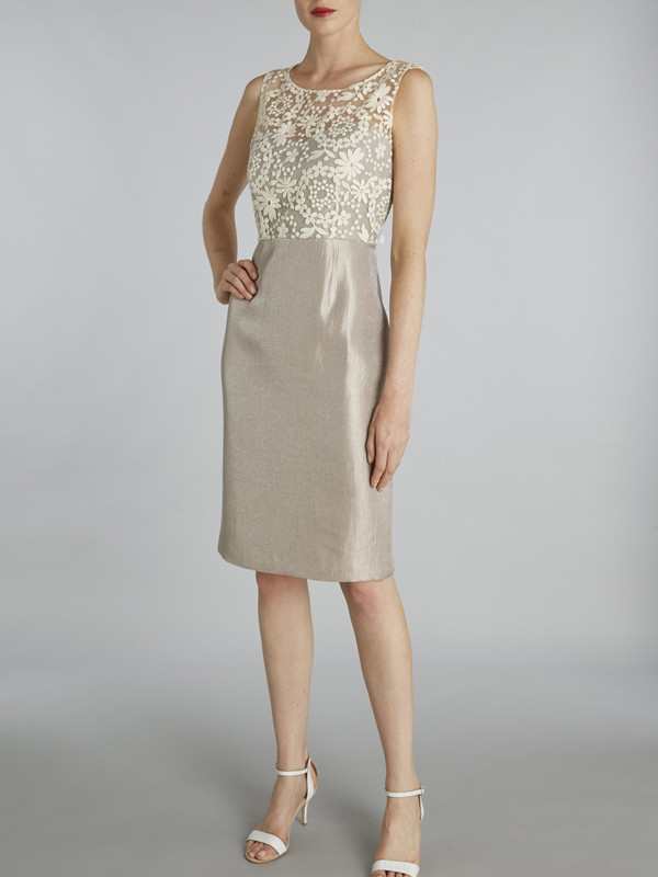 Gina Bacconi Taupe Daisy Chain Embroidered Mesh Dress - style: shift; pattern: plain; sleeve style: sleeveless; bust detail: added detail/embellishment at bust; secondary colour: white; predominant colour: champagne; occasions: evening; length: on the knee; fit: body skimming; fibres: polyester/polyamide - 100%; neckline: crew; sleeve length: sleeveless; pattern type: fabric; texture group: other - light to midweight; embellishment: lace; multicoloured: multicoloured; season: s/s 2016; wardrobe: event