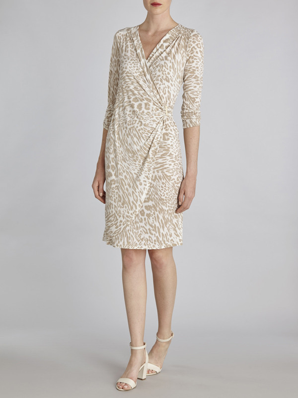 Gina Bacconi Beige Printed Jersey Ruched Dress Waist Trim - style: faux wrap/wrap; neckline: v-neck; bust detail: ruching/gathering/draping/layers/pintuck pleats at bust; predominant colour: ivory/cream; secondary colour: stone; length: just above the knee; fit: body skimming; fibres: polyester/polyamide - 100%; occasions: occasion; sleeve length: 3/4 length; sleeve style: standard; pattern type: fabric; pattern: patterned/print; texture group: jersey - stretchy/drapey; season: s/s 2016