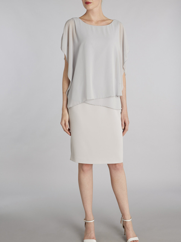Gina Bacconi Silver Chiffon Over Crepe Dress With Bead Edge - style: shift; neckline: round neck; sleeve style: dolman/batwing; pattern: plain; predominant colour: light grey; length: on the knee; fit: body skimming; fibres: polyester/polyamide - 100%; occasions: occasion; sleeve length: half sleeve; texture group: crepes; pattern type: fabric; season: s/s 2016; wardrobe: event