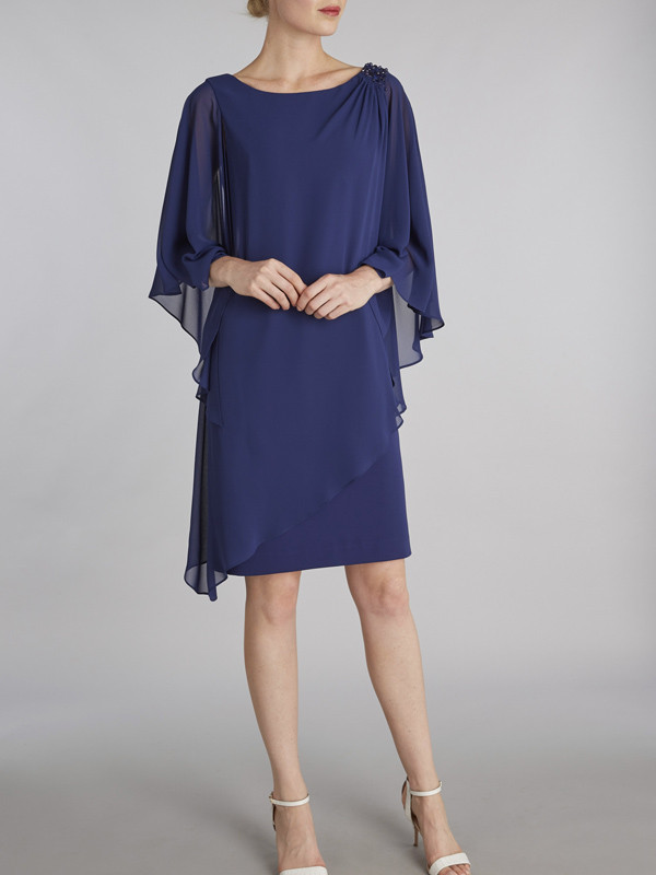 Gina Bacconi Navy Layered Chiffon And Crepe Dress With Beading - style: shift; neckline: round neck; sleeve style: dolman/batwing; pattern: plain; predominant colour: navy; length: on the knee; fit: body skimming; fibres: polyester/polyamide - 100%; occasions: occasion; hip detail: subtle/flattering hip detail; sleeve length: 3/4 length; texture group: crepes; pattern type: fabric; season: s/s 2016; wardrobe: event