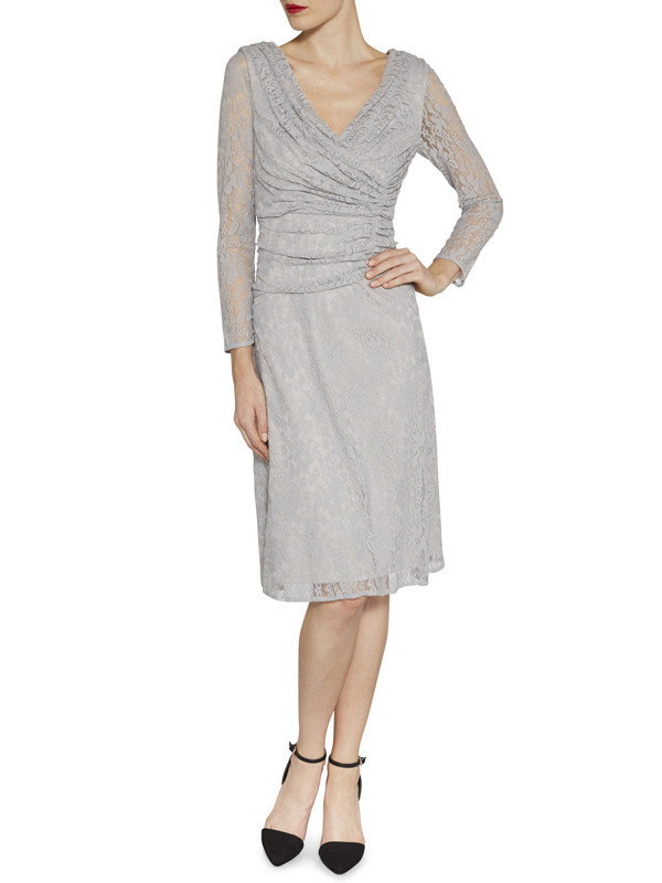 Gina Bacconi Silver Grey Floral Stretch Lace Ruched Dress - style: faux wrap/wrap; neckline: low v-neck; predominant colour: silver; length: on the knee; fit: body skimming; fibres: polyester/polyamide - 100%; occasions: occasion; sleeve length: long sleeve; sleeve style: standard; texture group: lace; pattern type: fabric; pattern: patterned/print; embellishment: lace; season: s/s 2016