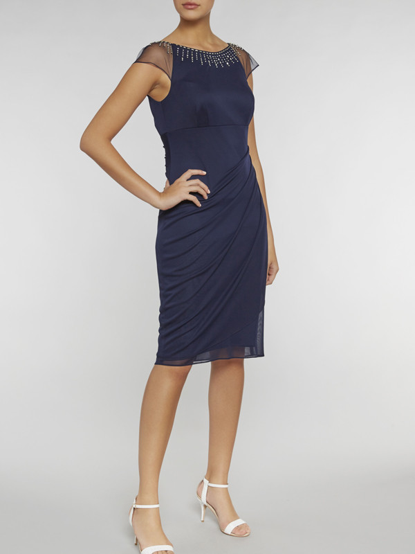 Gina Bacconi Navy Mesh Dress With Beaded Neckline - style: shift; sleeve style: capped; pattern: plain; predominant colour: navy; length: on the knee; fit: body skimming; fibres: polyester/polyamide - 100%; occasions: occasion; neckline: crew; sleeve length: short sleeve; texture group: sheer fabrics/chiffon/organza etc.; pattern type: fabric; season: s/s 2016; wardrobe: event