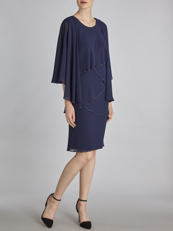 Gina Bacconi Navy Chiffon Shawl And Beaded Edge Dress - style: shift; sleeve style: angel/waterfall; pattern: plain; predominant colour: navy; occasions: evening; length: on the knee; fit: body skimming; fibres: polyester/polyamide - 100%; neckline: crew; sleeve length: 3/4 length; texture group: sheer fabrics/chiffon/organza etc.; pattern type: fabric; season: s/s 2016; wardrobe: event