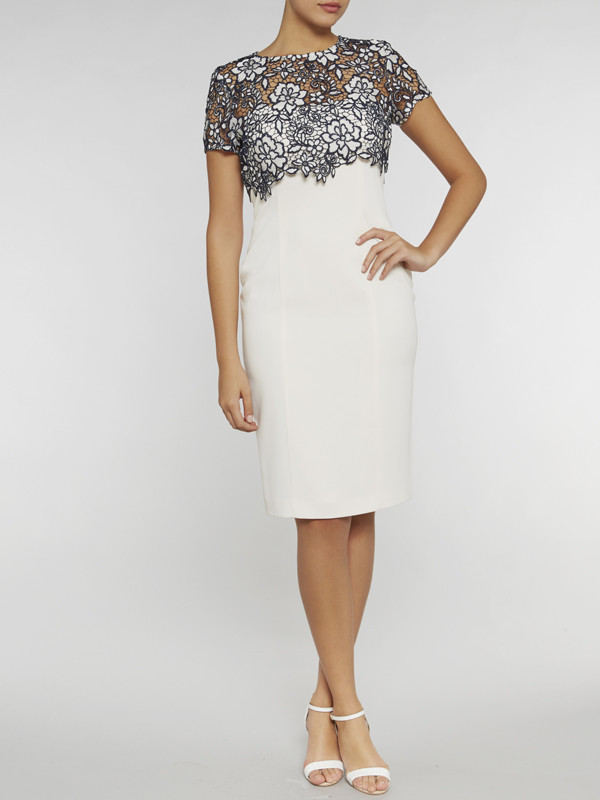 Gina Bacconi Navy/Ivory Crepe Dress With Bouquet Guipure Over Top - style: shift; fit: tailored/fitted; hip detail: draws attention to hips; secondary colour: ivory/cream; predominant colour: navy; occasions: evening, occasion; length: just above the knee; fibres: polyester/polyamide - 100%; neckline: crew; sleeve length: short sleeve; sleeve style: standard; pattern type: fabric; pattern: patterned/print; texture group: woven light midweight; embellishment: lace; season: s/s 2016; wardrobe: event; embellishment location: bust