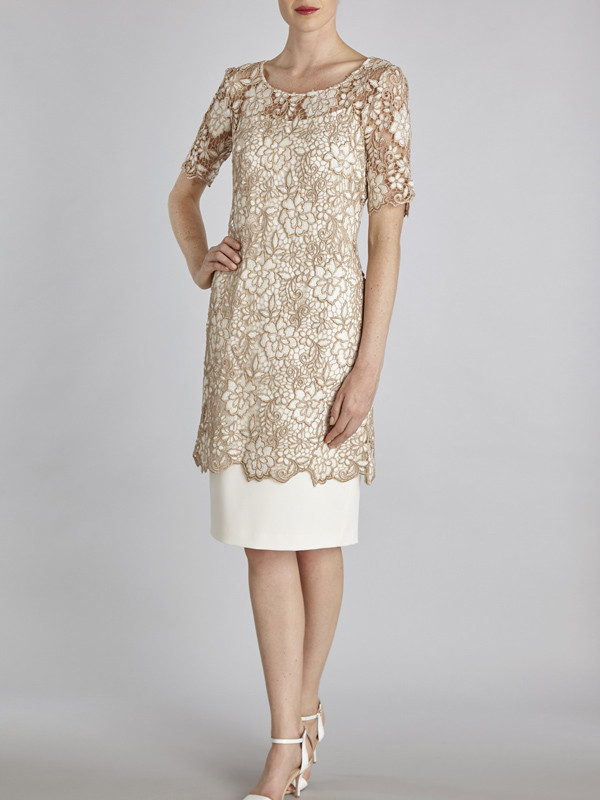 Gina Bacconi Cream Guipure Half Sleeved Top Over Dress - style: shift; length: below the knee; neckline: round neck; fit: tailored/fitted; secondary colour: ivory/cream; predominant colour: gold; fibres: polyester/polyamide - 100%; occasions: occasion; hip detail: contrast fabric/print detail at hip; sleeve length: half sleeve; sleeve style: standard; texture group: lace; pattern type: fabric; pattern size: standard; pattern: patterned/print; embellishment: beading; season: s/s 2016; wardrobe: event