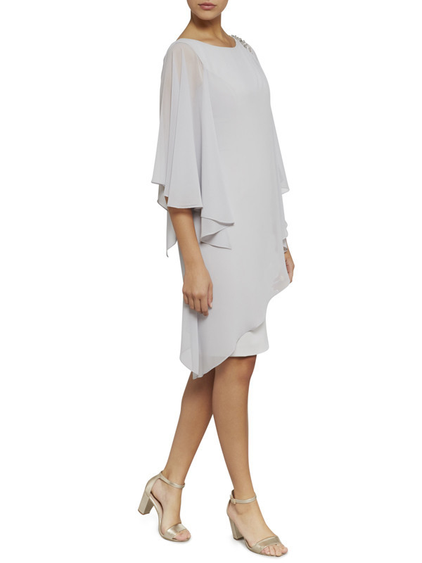 Gina Bacconi Silver Layered Chiffon And Crepe Dress With Beading - style: shift; sleeve style: dolman/batwing; pattern: plain; predominant colour: light grey; occasions: evening, occasion; length: just above the knee; fit: straight cut; fibres: polyester/polyamide - 100%; neckline: crew; sleeve length: 3/4 length; texture group: sheer fabrics/chiffon/organza etc.; pattern type: fabric; embellishment: beading; season: s/s 2016; wardrobe: event