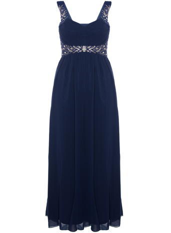 Womens **Quiz Pleated Diamante Maxi Dress Blue - fit: empire; pattern: plain; sleeve style: sleeveless; style: maxi dress; length: ankle length; predominant colour: navy; secondary colour: silver; occasions: evening; neckline: scoop; fibres: polyester/polyamide - stretch; hip detail: subtle/flattering hip detail; sleeve length: sleeveless; texture group: sheer fabrics/chiffon/organza etc.; pattern type: fabric; embellishment: crystals/glass; season: s/s 2016; wardrobe: event