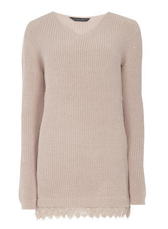 Womens **Tall Blush V Neck Lace Hem Jumper Pink - neckline: v-neck; pattern: plain; style: standard; predominant colour: blush; occasions: casual; length: standard; fibres: acrylic - 100%; fit: slim fit; sleeve length: long sleeve; sleeve style: standard; texture group: knits/crochet; pattern type: fabric; embellishment: lace; season: s/s 2016; wardrobe: highlight