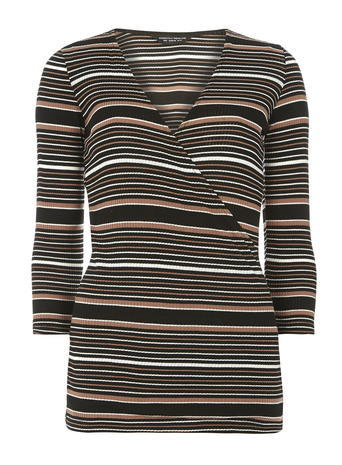 Womens **Tall Black And Brown Wrap Top Black - neckline: v-neck; pattern: horizontal stripes; style: wrap/faux wrap; secondary colour: white; predominant colour: black; occasions: casual; length: standard; fibres: polyester/polyamide - stretch; fit: tight; sleeve length: long sleeve; sleeve style: standard; pattern type: fabric; texture group: jersey - stretchy/drapey; multicoloured: multicoloured; season: s/s 2016; wardrobe: basic