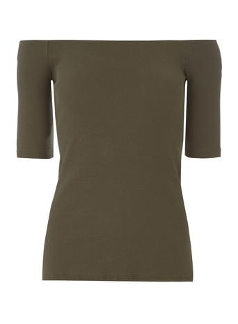 Womens Khaki Ribbed Bardot Top Green - neckline: off the shoulder; pattern: plain; predominant colour: khaki; occasions: casual; length: standard; style: top; fibres: cotton - 100%; fit: tight; sleeve length: short sleeve; sleeve style: standard; texture group: jersey - clingy; pattern type: fabric; season: s/s 2016; wardrobe: highlight