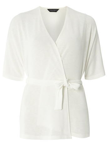 Womens Ivory Wrap Belted Cardigan White - neckline: v-neck; pattern: plain; style: wrap; predominant colour: white; occasions: casual; length: standard; fibres: polyester/polyamide - stretch; fit: slim fit; waist detail: belted waist/tie at waist/drawstring; sleeve length: short sleeve; sleeve style: standard; texture group: knits/crochet; pattern type: fabric; season: s/s 2016; wardrobe: basic