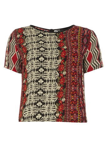 Womens **Mela Aztec Print Tee Multi Colour - style: t-shirt; predominant colour: burgundy; secondary colour: stone; occasions: casual; length: standard; fibres: viscose/rayon - 100%; fit: body skimming; neckline: crew; sleeve length: short sleeve; sleeve style: standard; pattern type: fabric; pattern: patterned/print; texture group: jersey - stretchy/drapey; multicoloured: multicoloured; season: s/s 2016