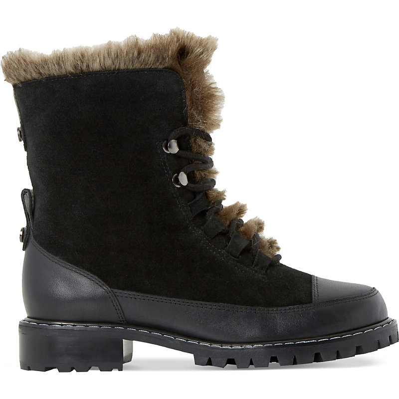 Raleigh Faux Fur Lined Suede Boots, Women's, Eur 38 / 5 Uk Women, Black Leather Mix - predominant colour: black; occasions: casual, creative work; material: suede; heel height: flat; heel: block; toe: round toe; boot length: ankle boot; style: biker boot; finish: plain; pattern: plain; embellishment: fur; season: s/s 2016; wardrobe: highlight