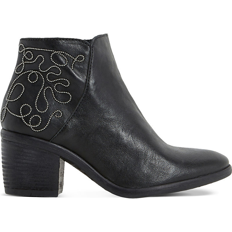 Patty Embellished Leather Ankle Boots, Women's, Eur 41 / 8 Uk Women, Black Leather - predominant colour: black; occasions: casual, creative work; material: leather; heel height: mid; embellishment: embroidered; heel: block; toe: round toe; boot length: ankle boot; style: cowboy; finish: plain; pattern: plain; season: s/s 2016