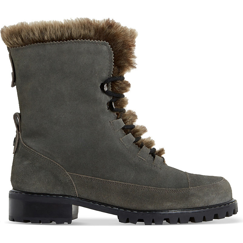 Raleigh Faux Fur Lined Suede Boots, Women's, Eur 36 / 3 Uk Women, Grey Suede - predominant colour: charcoal; occasions: casual, creative work; material: suede; heel height: mid; heel: block; toe: round toe; boot length: ankle boot; style: standard; finish: plain; pattern: plain; embellishment: fur; season: s/s 2016; wardrobe: highlight