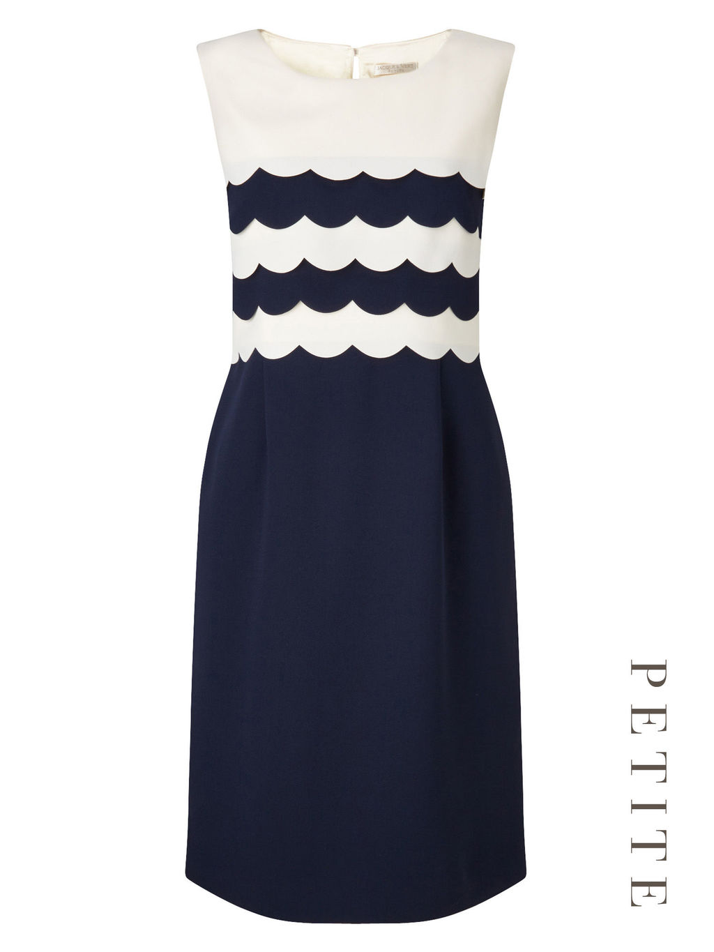 Petite Scallop Edge Dress - style: shift; length: below the knee; neckline: round neck; fit: tailored/fitted; sleeve style: sleeveless; secondary colour: white; predominant colour: navy; occasions: evening, occasion; fibres: polyester/polyamide - 100%; sleeve length: sleeveless; pattern type: fabric; pattern size: light/subtle; pattern: colourblock; texture group: woven light midweight; season: s/s 2016; wardrobe: event